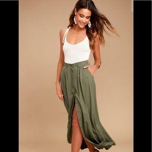 PISTOLA My Squad Olive Green Maxi Skirt Small NWT